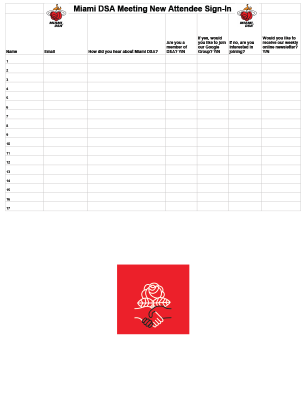 New Attendee Sign-in Sheet