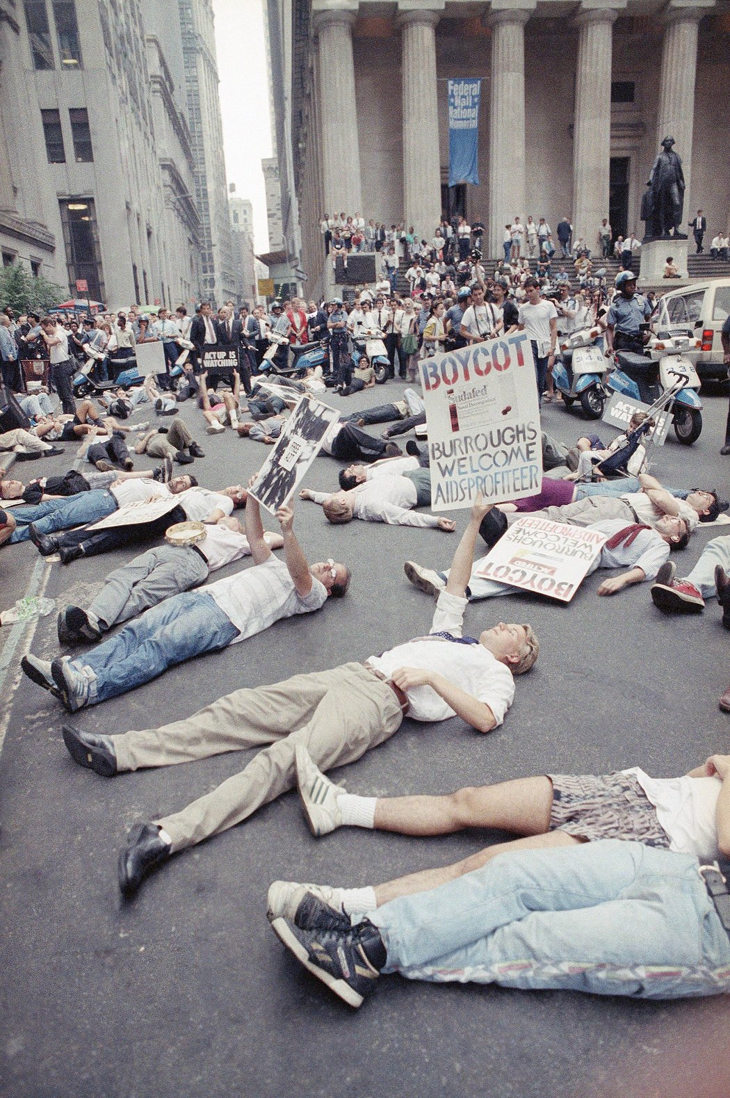 ACT UP members stage die-in at Wall Street