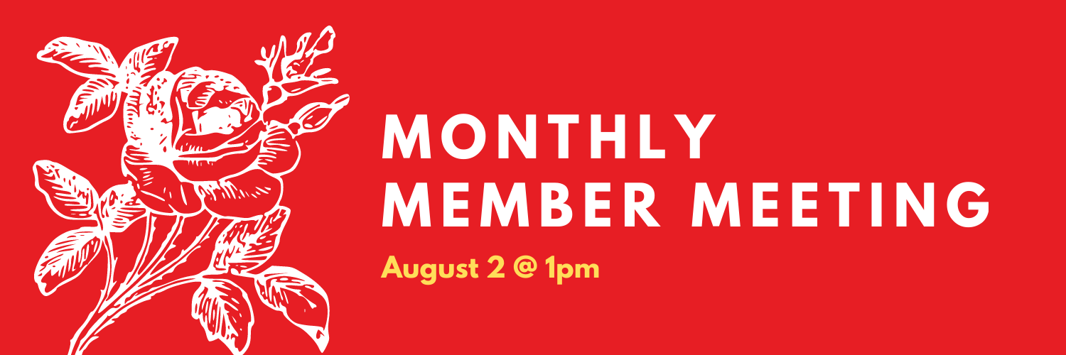 Monthly Member Meeting August 2 at 1pm